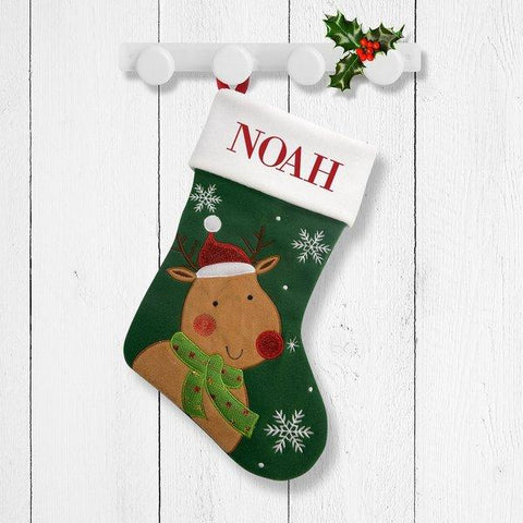 Cute Reindeer Green Santa Stocking