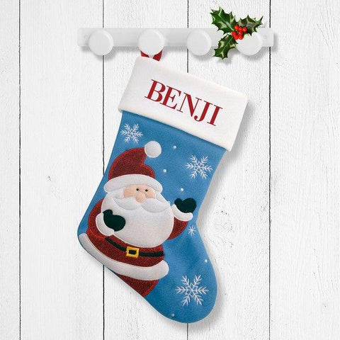 Happy Santa Blue Santa Stocking