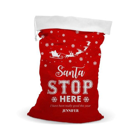 Stop Here Sequin Santa Sack