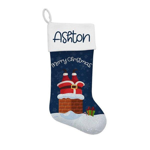Chimney Sequin Santa Stocking