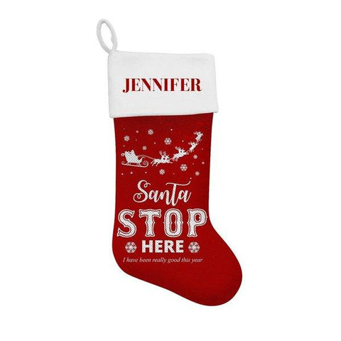 Stop Here Sequin Santa Stocking