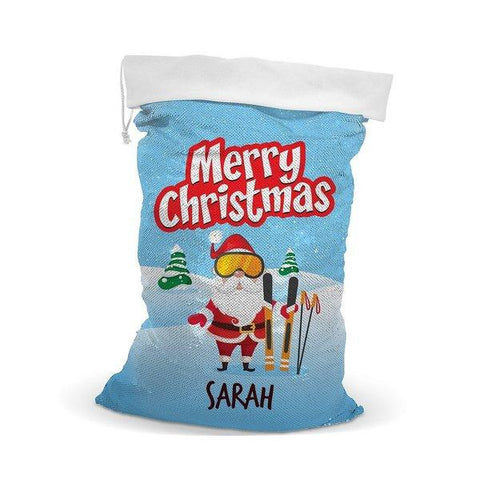 Skiing Sequin Santa Sack