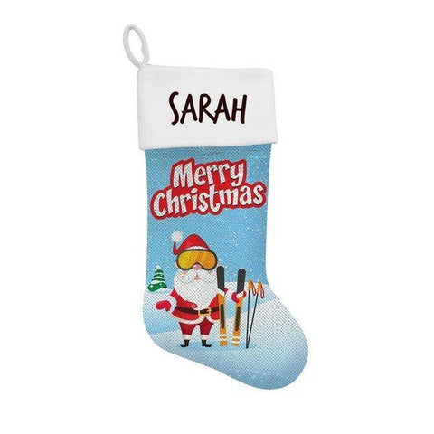 Skiing Sequin Santa Stocking
