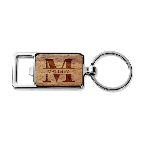 Monogram Rectangle Metal Keyring