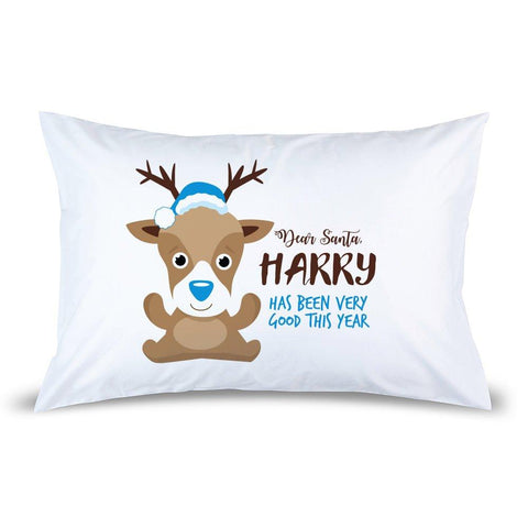 Blue Reindeer Pillow Case