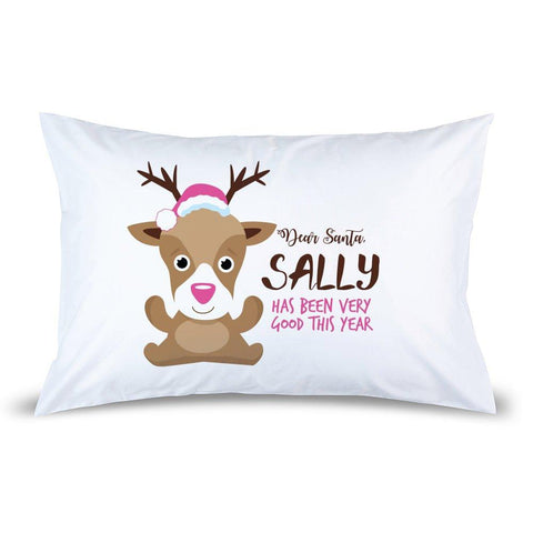 Pink Reindeer Pillow Case
