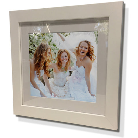 "19x19"" White Frame with White Border (12x12"" Print)"