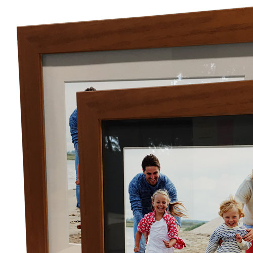 "16x28"" Brown Frame with White Border (7x19"" Print)"