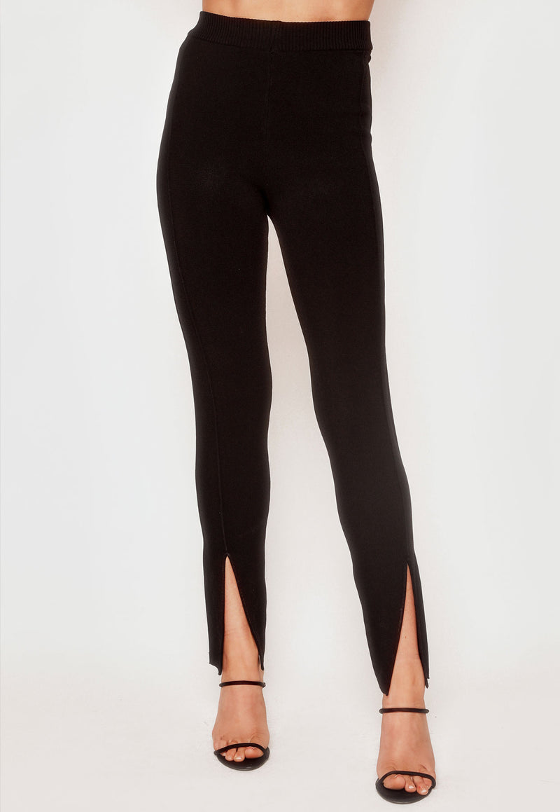 Crepe Knit Split Pant