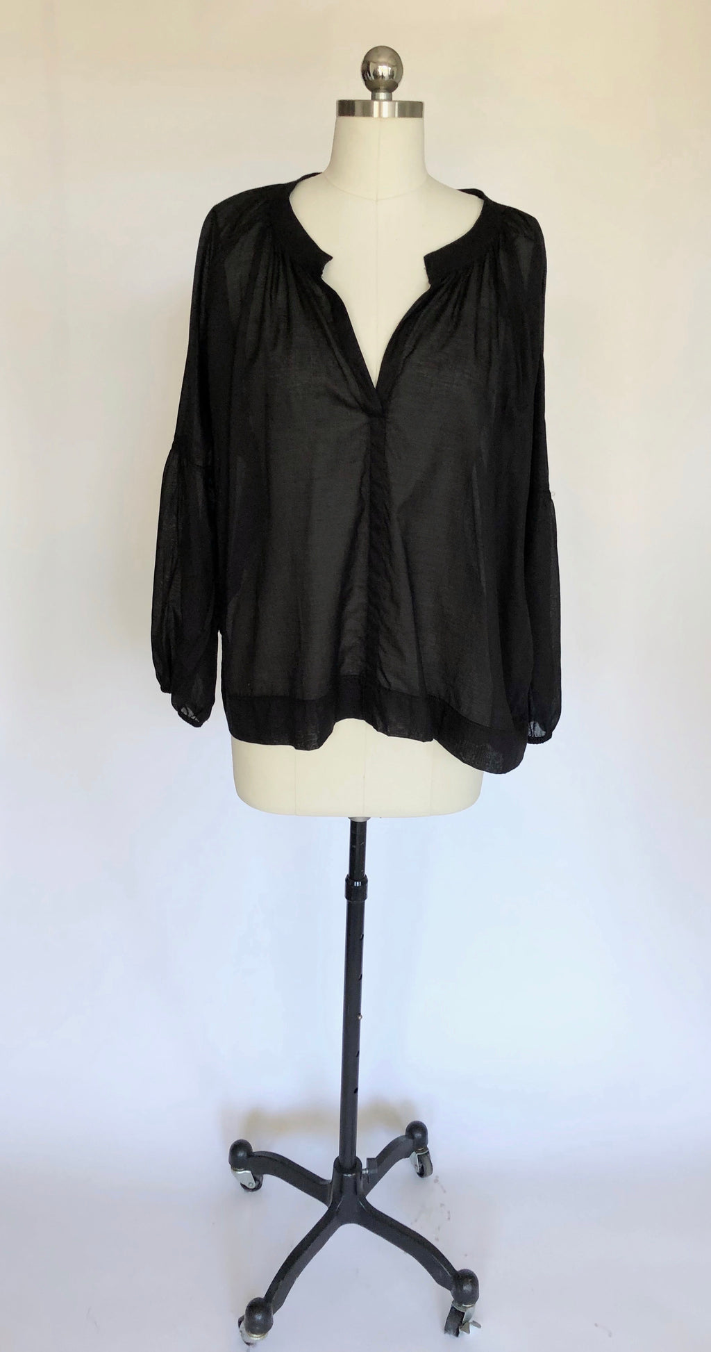 Black Cotton Organdy Top