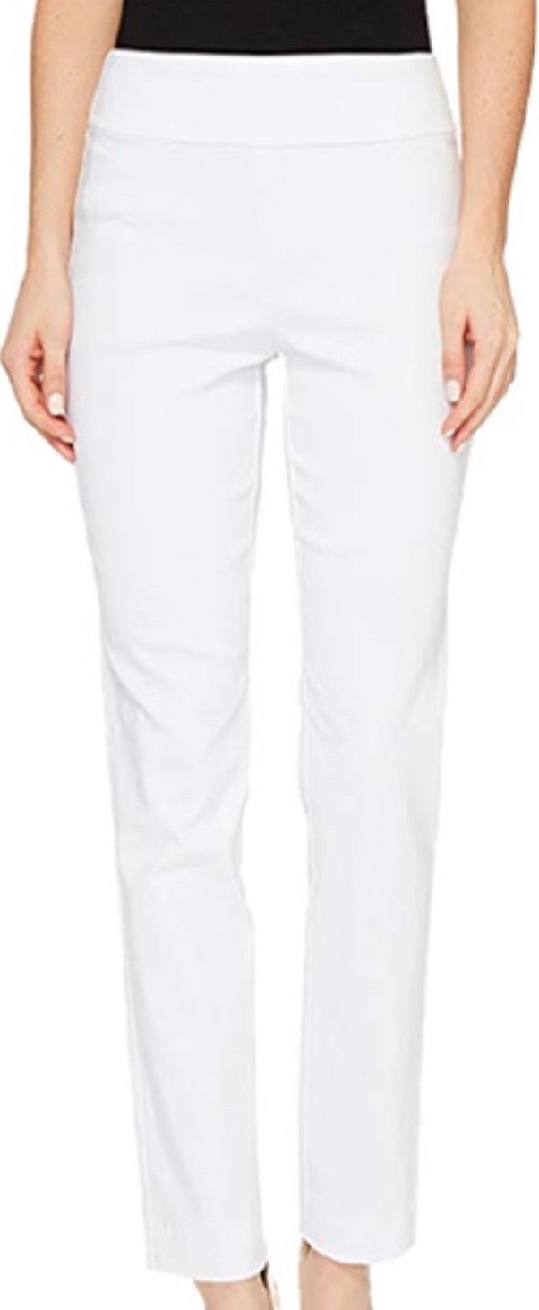 White Pull On Ankle Pant