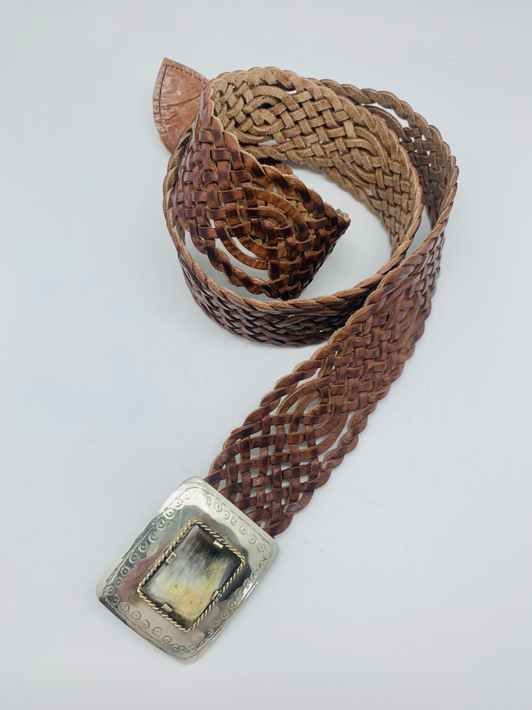 Morocco Handwoven Belt Natural Leather Silver Buckle