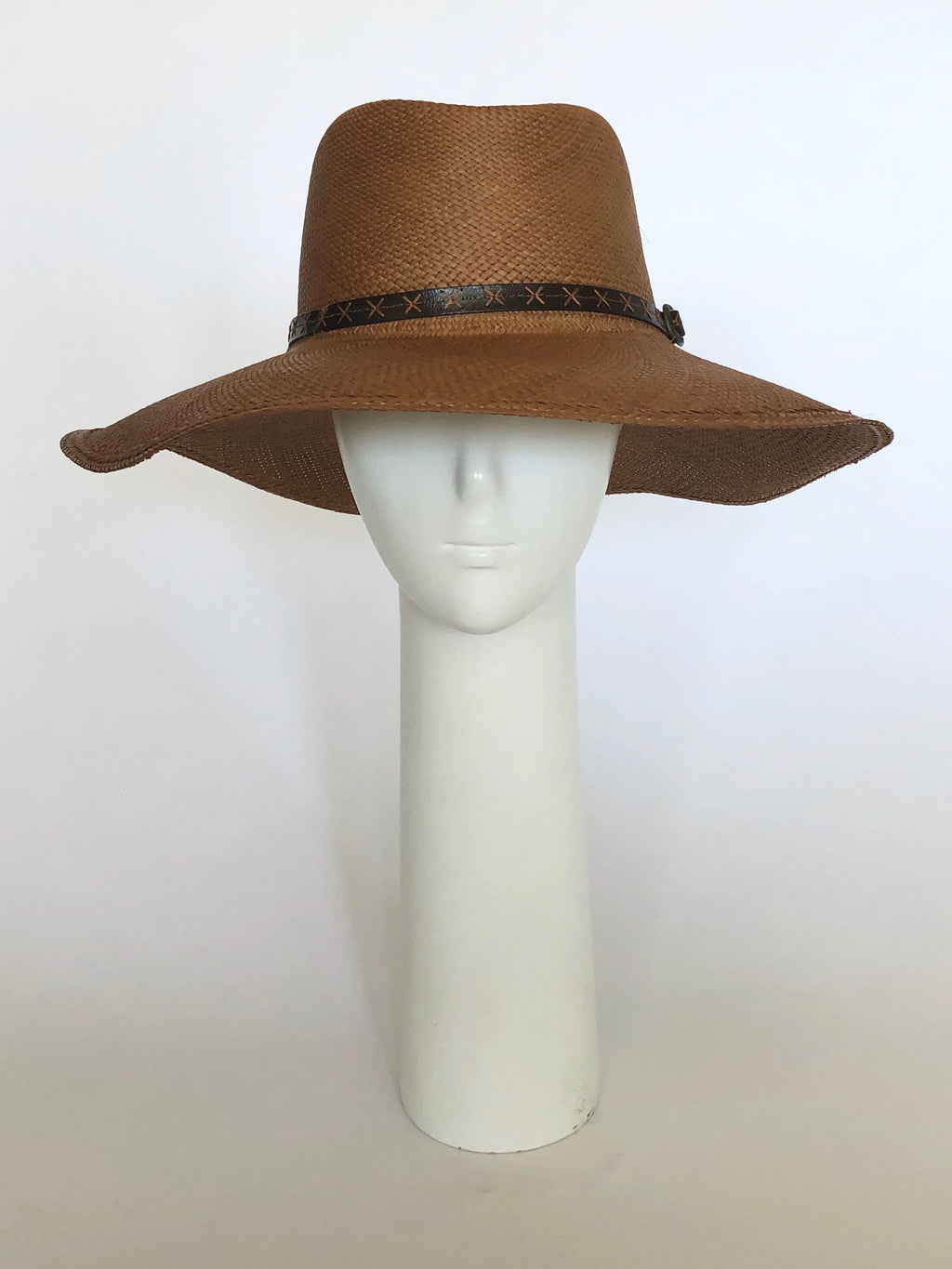 Cocoa Straw Hat with Black Leather Band