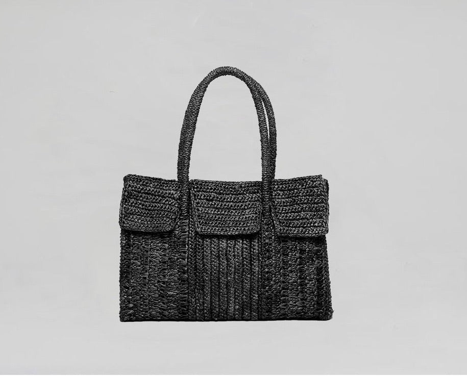Medium Raffia Birkin Tote Black