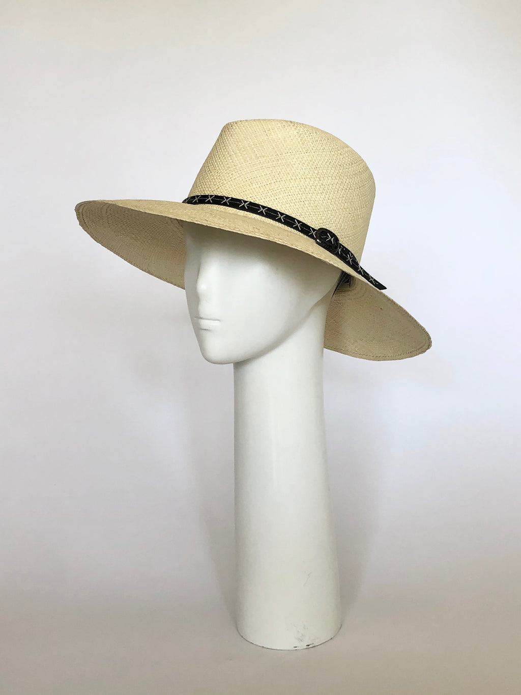 Straw Hat with Brown Leather Band