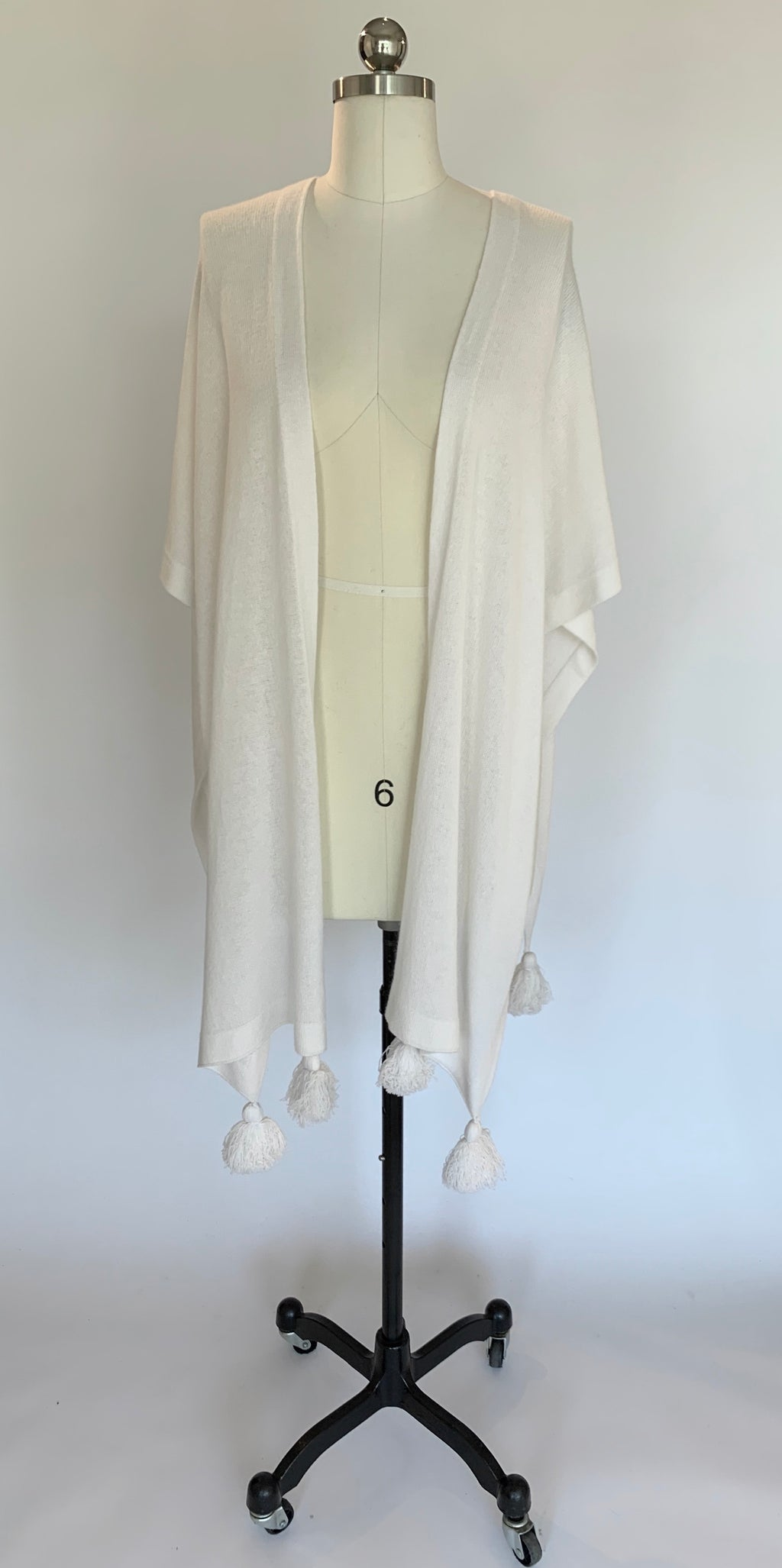 White Cashmere Mantle with Pom Poms