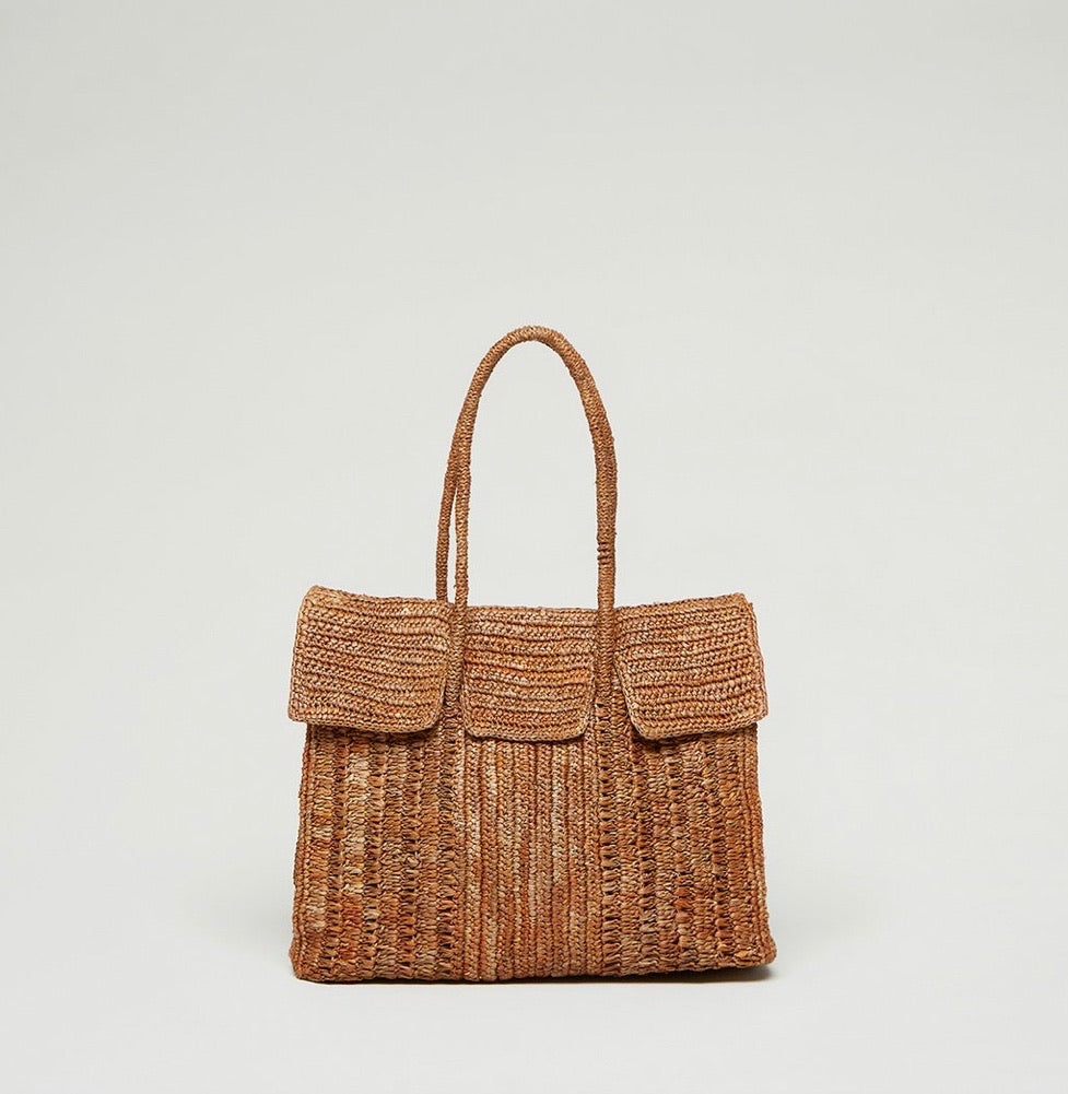 Small Raffia Birkin Tote Bag Brown