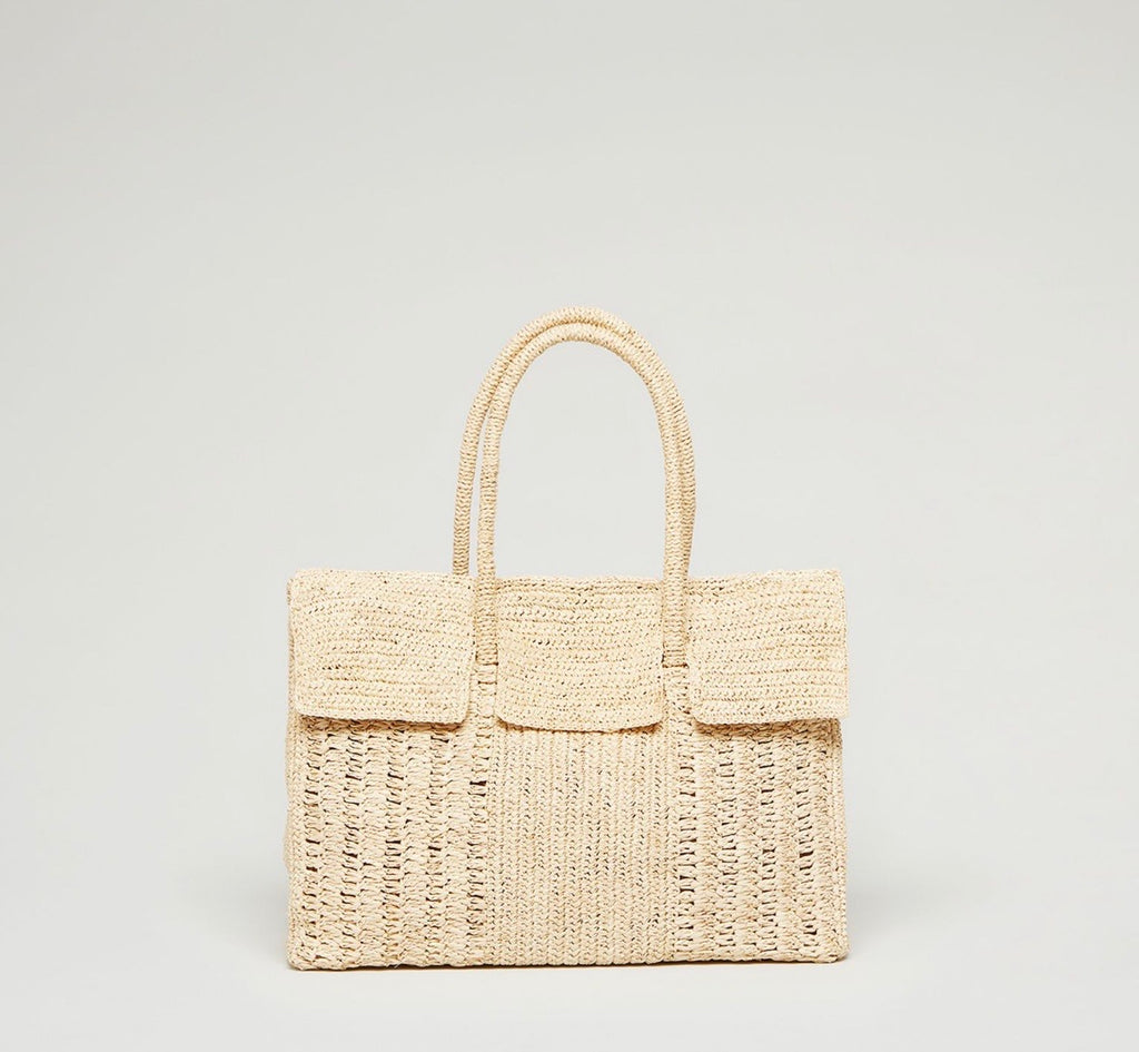 Large Birkin Raffia Tote Bag Natural
