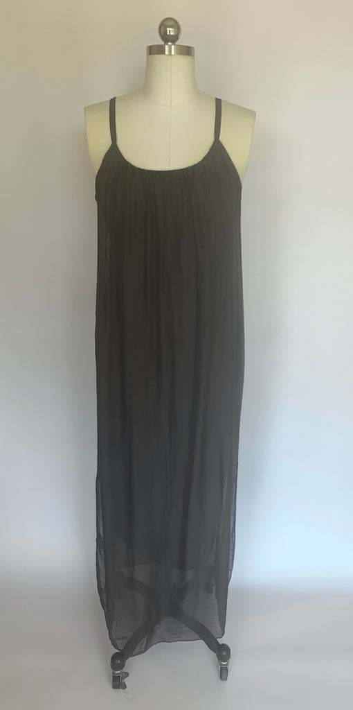 Chocolate Silk Maxi Slip Dress