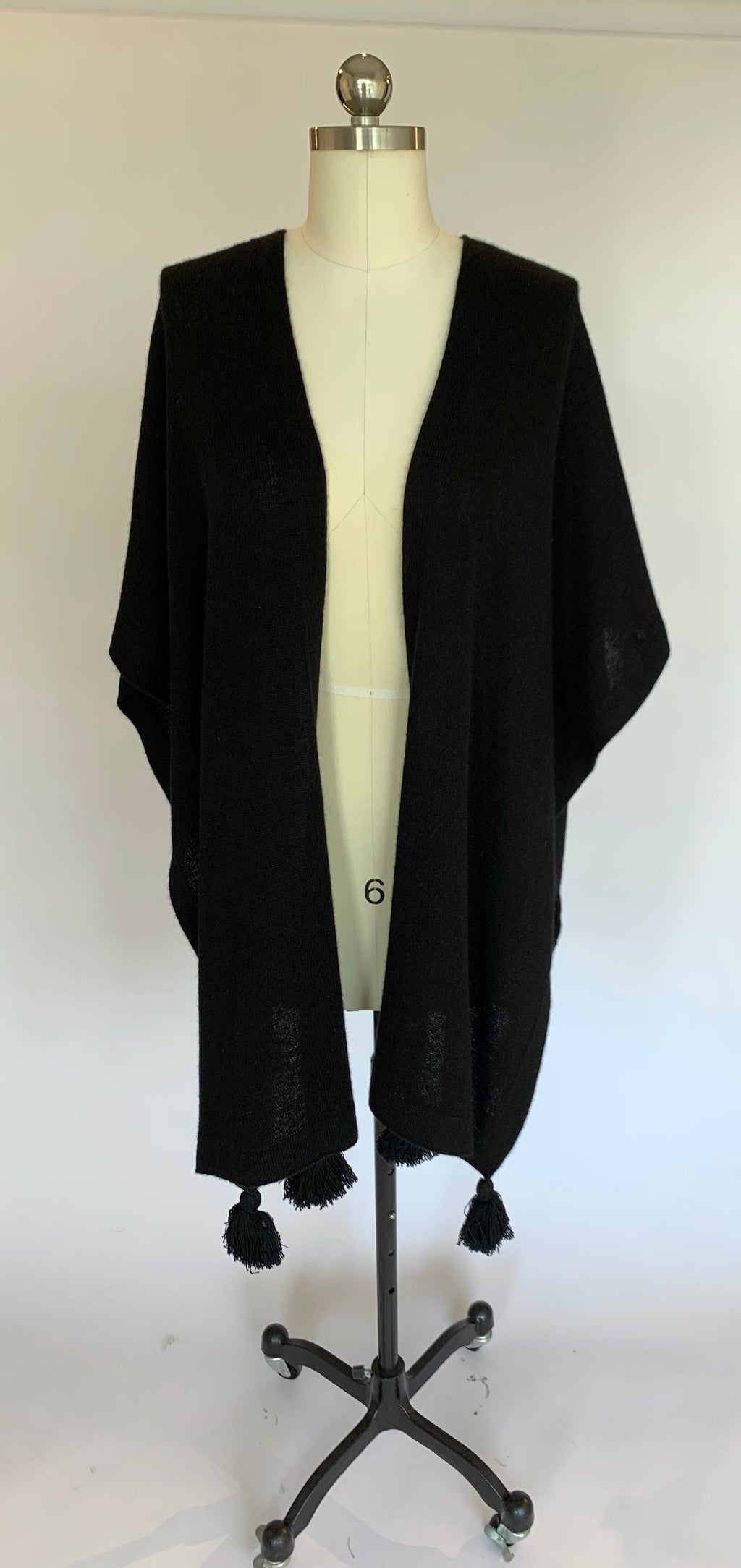 Black Cashmere Mantle with Pom Poms