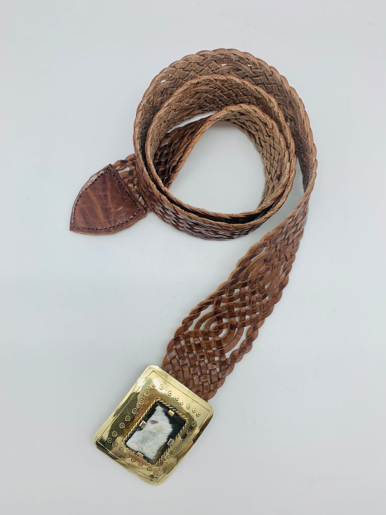 Moroccan Handwoven Belt Natural With Brass Buckle