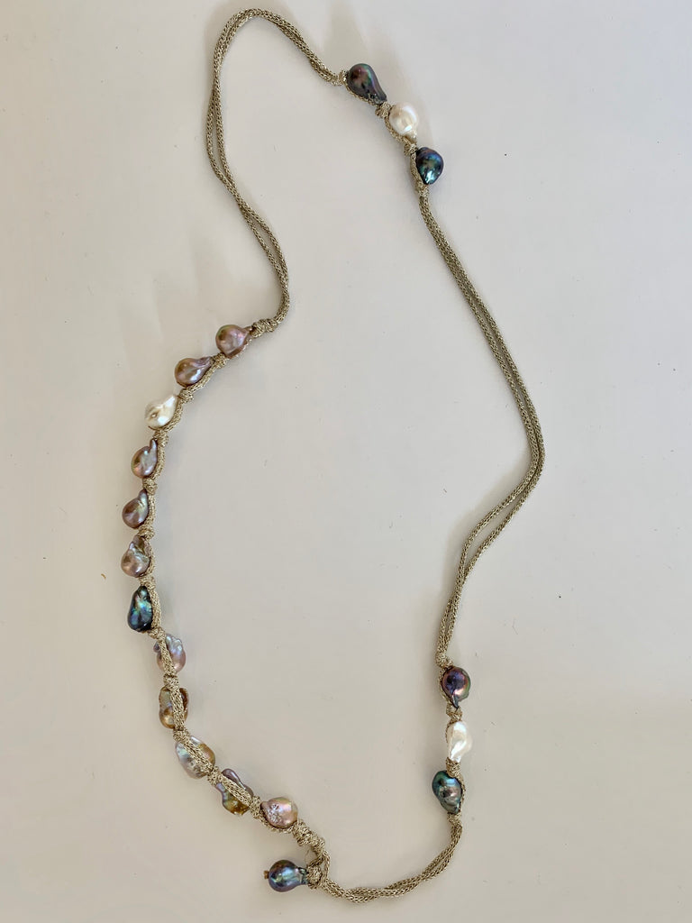 Multi Color Pearl Necklace on Metallic Cord