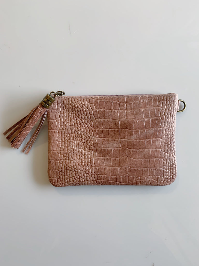 Embossed Leather Clutch Bag