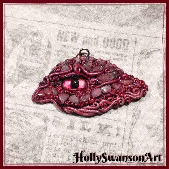 Rose Quartz Dragon Eye Pendant