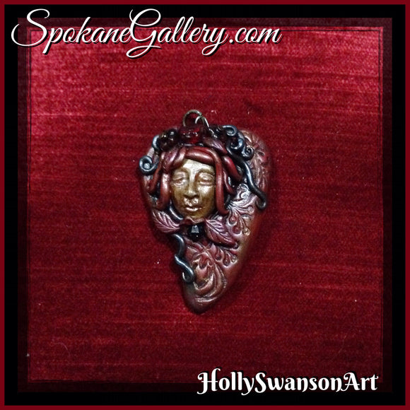 Deep Red Heart Goddess Pendant