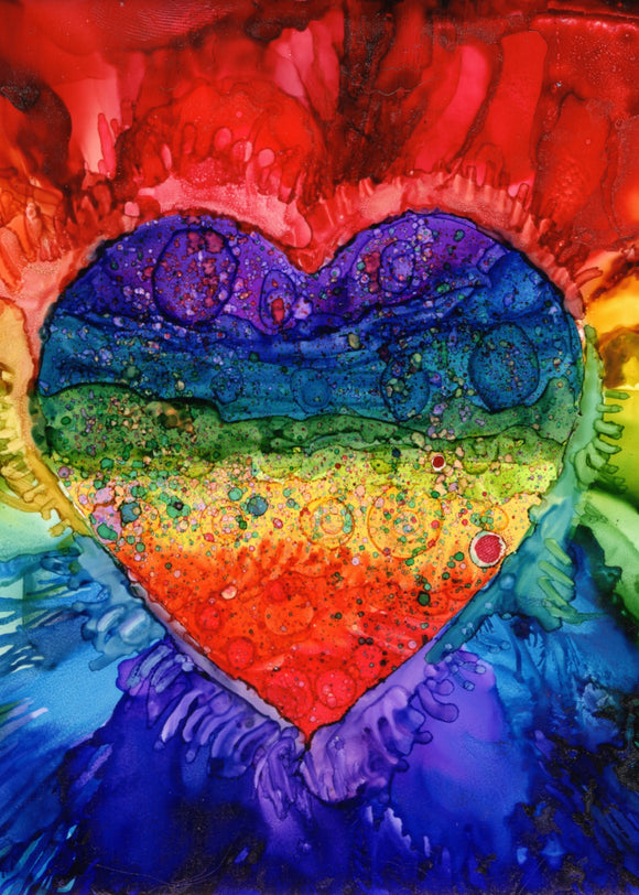 Alcohol Ink Rainbow Heart Print 11x14