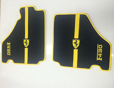 FERRARI F430 Front Floor Mat Set - Black with Yellow Trim and Logo - 2004 - 2009