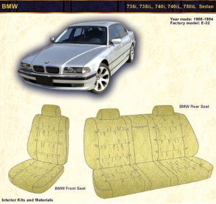 1988- 1994 BMW 735i, 735iL, 740i, 740iL, 750iL, and Sedan Front Seat backrest Rear Panels - Leather
