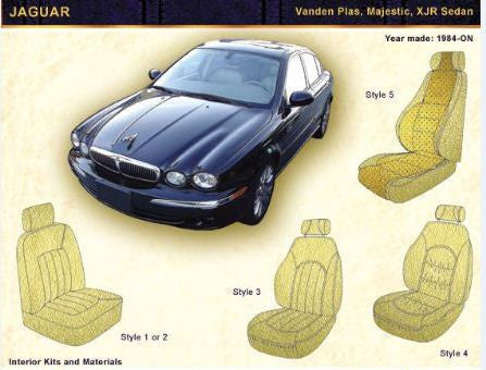 1984-ON JAGUAR Vanden Plas, Majestic, XJR Sedan Front Seat upholstery Kit Style 1 or 2 - Vinyl