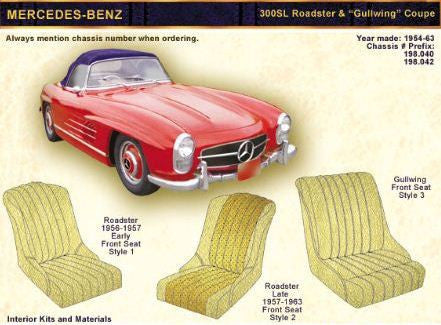 "1954-63 MERCEDES-BENZ 300SL Roadster & ""Gullwing"" Coupe Front Seat upholstery Kit - Leather"