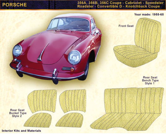 1955-1966 MERCEDES-BENZ 356A, 356B, 356C Coupe - Cabriolet - Speedster - Roadster - Convertible - D & notchback Coupe Door Panel upholstery Kit - Vinyl