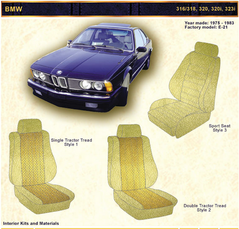 1975-1983 BMW 316/318, 320, 3201, 3231 Front Seat upholstery Kit - Vinyl