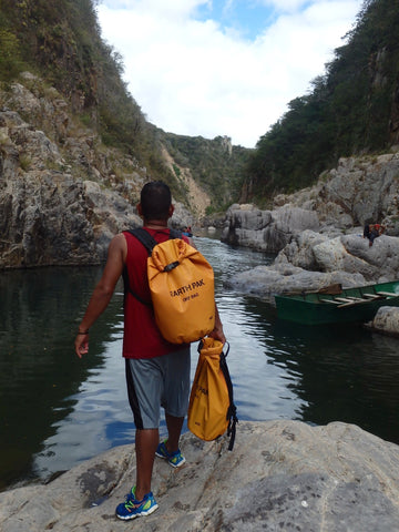 Somoto Canyon Tours guide with his EarthPak dry bags in the lower canyon