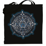Graphic tote bag Bag Nahua Ollin Aztec Calendar/ blue