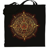 Graphic tote bag Bag Nahua Ollin Aztec Calendar/ red