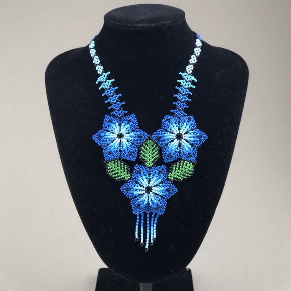 Shakira Jewelry - Necklace - Mexican Indigenous HandMade Necklace Import Three Blue Flowers