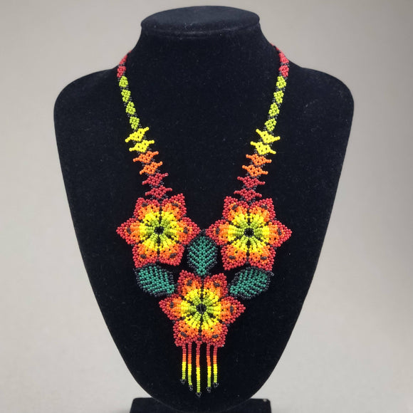 Shakira Jewelry - Necklace - Mexican Indigenous HandMade Necklace Import Three Red Flowers
