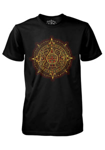 Aztec Calendar NahuaOllin S Black w/Gold & Red