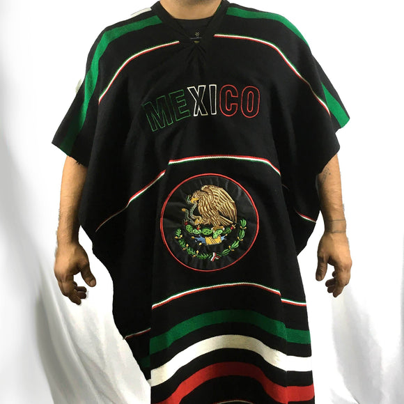 Mexican Patriot Poncho Poncho Import Black Flag