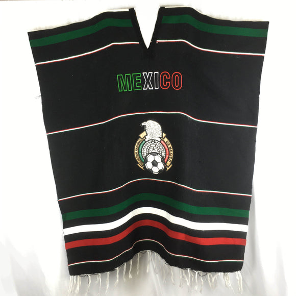 Mexican Patriot Poncho Poncho Import Black Soccer