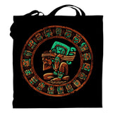 Graphic Tote Bag Bag Nahua Ollin Mayan Calendar Tote Bag/Black