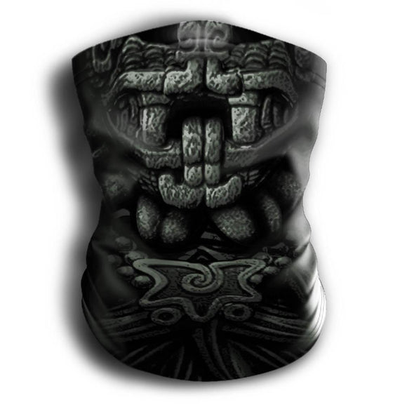 Mask Headband Two-in-One - Neck Buff, Tubular Bandana, Neck Gaiter Face Mask Nahua Ollin Quetzalcoatl Gray Adult Standard