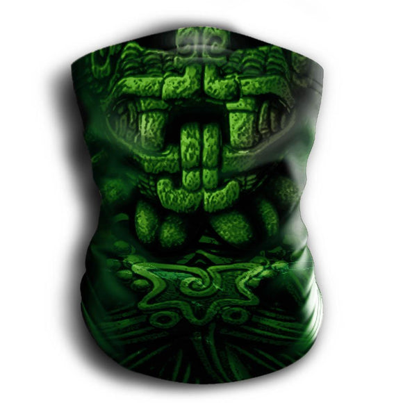 Mask Headband Two-in-One - Neck Buff, Tubular Bandana, Neck Gaiter Face Mask Nahua Ollin Quetzalcoatl Green Adult Standard