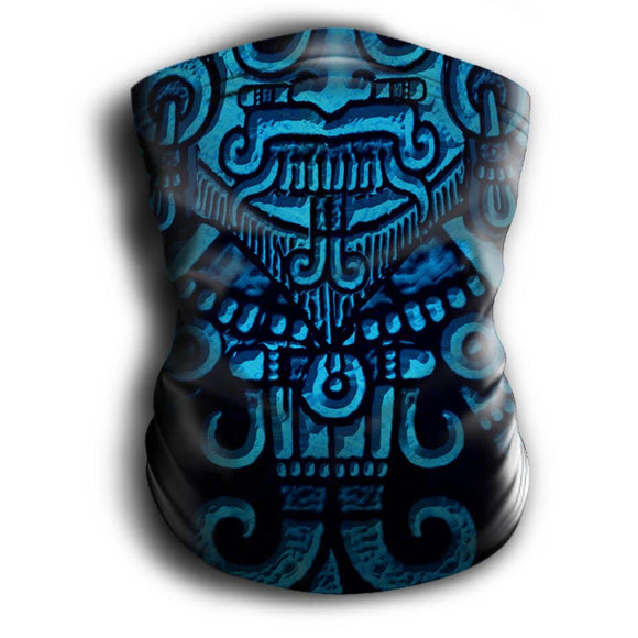 Mask Headband Two-in-One - Neck Buff, Tubular Bandana, Neck Gaiter Face Mask Nahua Ollin Tlaloc Blue Adult Standard