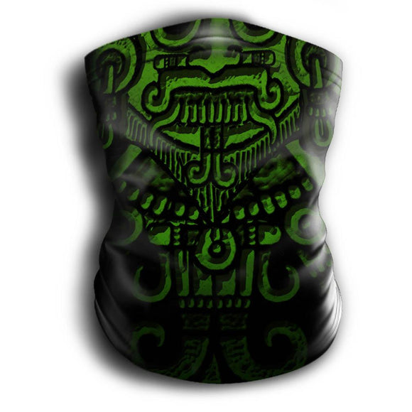Mask Headband Two-in-One - Neck Buff, Tubular Bandana, Neck Gaiter Face Mask Nahua Ollin Tlaloc Green Adult Standard