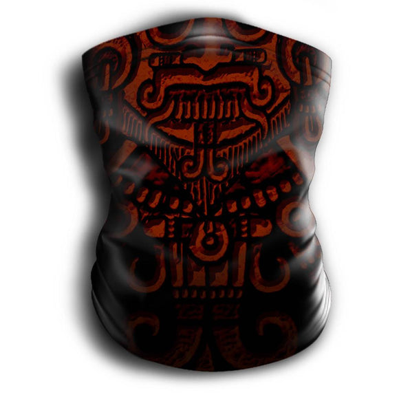Mask Headband Two-in-One - Neck Buff, Tubular Bandana, Neck Gaiter Face Mask Nahua Ollin Tlaloc Red Adult Standard